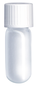 4.5ml Borosilicate Vial Round bottom 46x15.5mm Evacuated Unlabelled Seal + White Cap. Pack of 1000