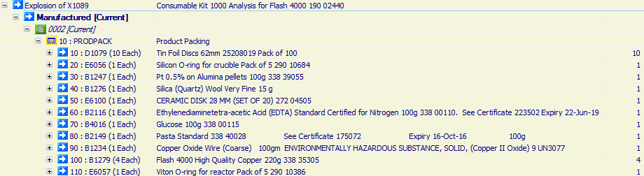 Consumable Kit 1000 Analysis for Flash 4000 190 02440
