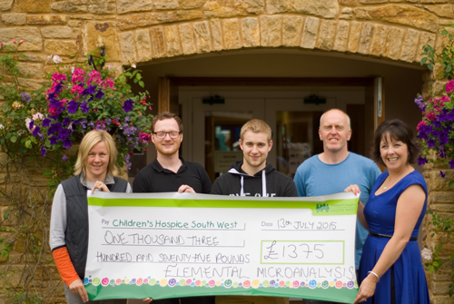 Elemental Microanalysis Team Present Cheque to Childrens hospice South West