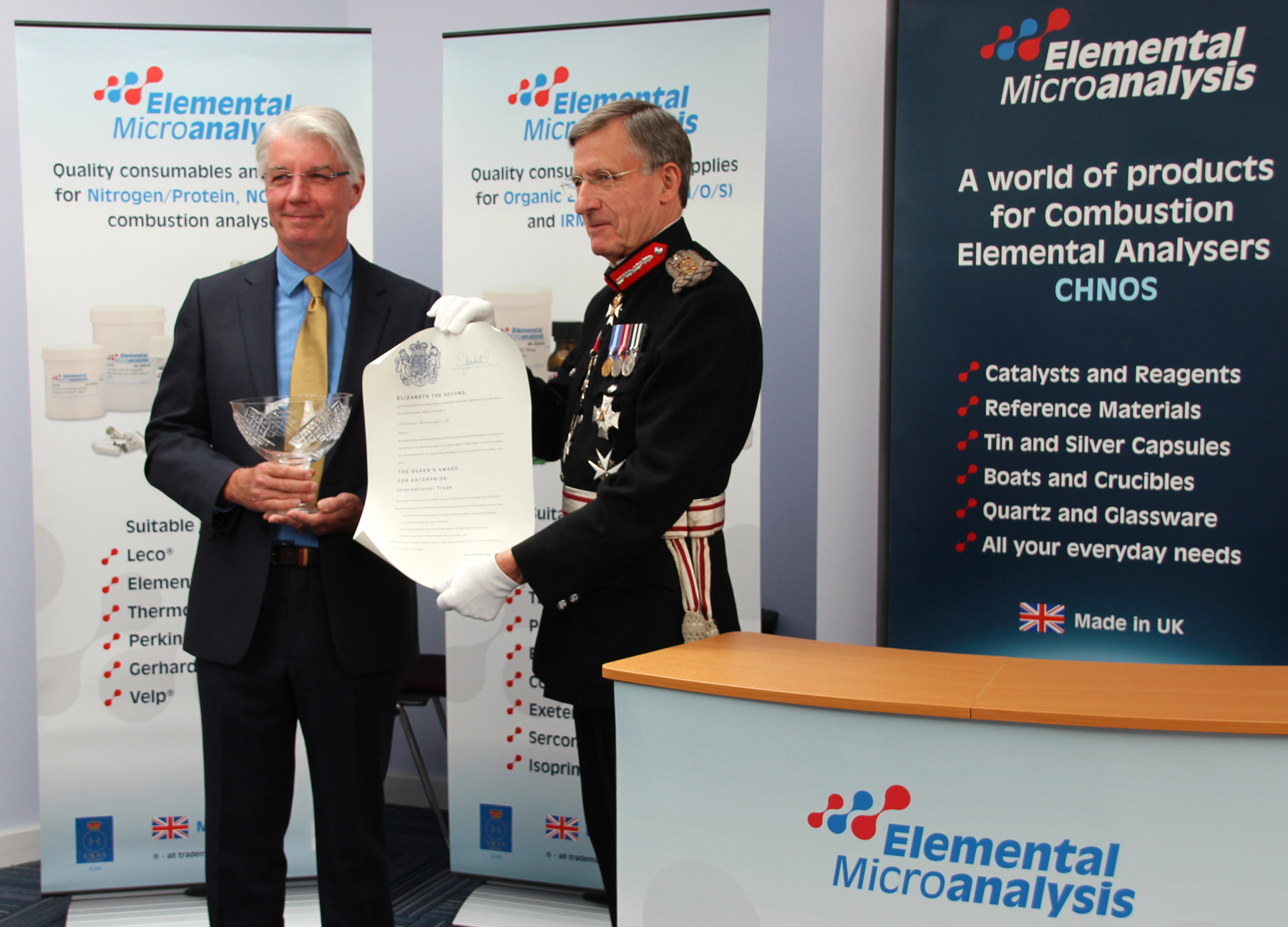 Ian Smith receives The Queens Award from the Lord Lieutenant of Devon