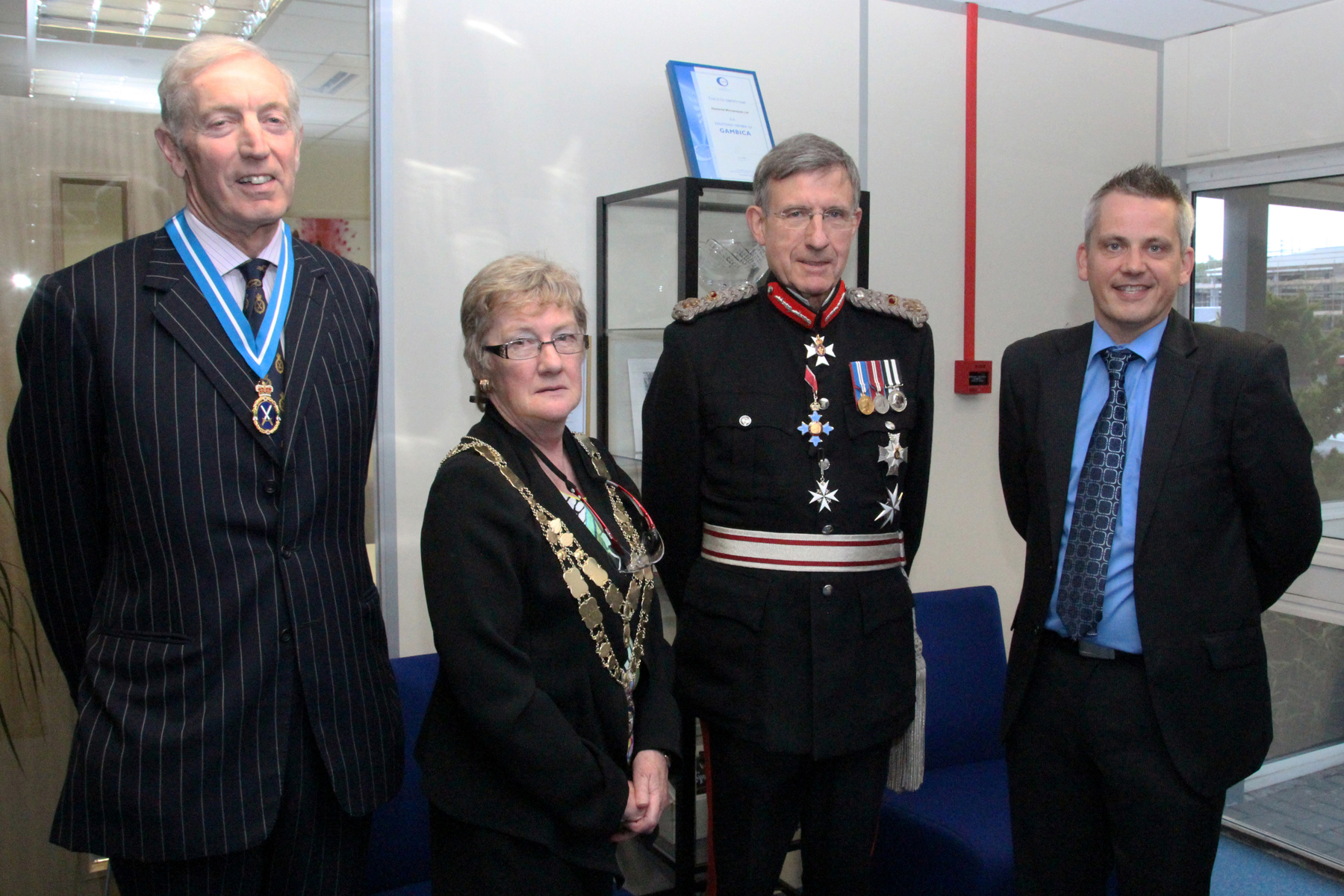(R-L) Paul Stevens Operations Director meets with the Lord Lieutenant of Devon, Mayor of West Devon and the High Sheriff of Devon